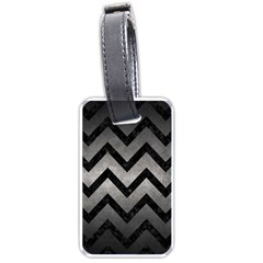 Chevron9 Black Marble & Gray Metal 1 (r) Luggage Tags (two Sides) by trendistuff