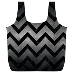 Chevron9 Black Marble & Gray Metal 1 (r) Full Print Recycle Bags (l)  by trendistuff