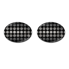 Circles1 Black Marble & Gray Metal 1 Cufflinks (oval) by trendistuff