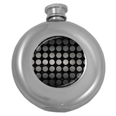 Circles1 Black Marble & Gray Metal 1 Round Hip Flask (5 Oz) by trendistuff