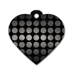 Circles1 Black Marble & Gray Metal 1 Dog Tag Heart (two Sides) by trendistuff