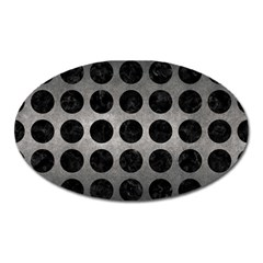 Circles1 Black Marble & Gray Metal 1 (r) Oval Magnet by trendistuff