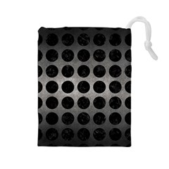 Circles1 Black Marble & Gray Metal 1 (r) Drawstring Pouches (large)  by trendistuff