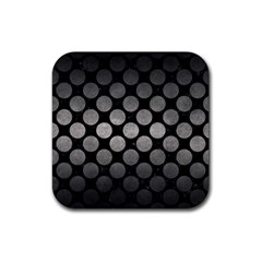 Circles2 Black Marble & Gray Metal 1 Rubber Coaster (square)  by trendistuff