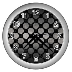 Circles2 Black Marble & Gray Metal 1 Wall Clocks (silver)  by trendistuff