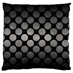 Circles2 Black Marble & Gray Metal 1 Large Flano Cushion Case (one Side) by trendistuff
