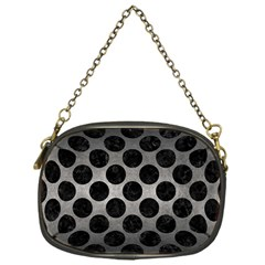 Circles2 Black Marble & Gray Metal 1 (r) Chain Purses (one Side)  by trendistuff
