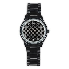 Circles2 Black Marble & Gray Metal 1 (r) Stainless Steel Round Watch by trendistuff