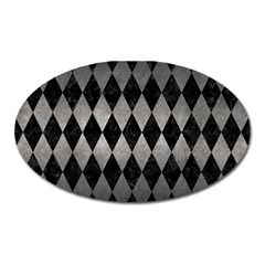 Diamond1 Black Marble & Gray Metal 1 Oval Magnet by trendistuff