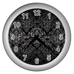 Damask1 Black Marble & Gray Metal 1 Wall Clocks (silver)  by trendistuff