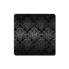 Damask1 Black Marble & Gray Metal 1 Square Magnet by trendistuff