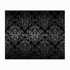 Damask1 Black Marble & Gray Metal 1 Small Glasses Cloth (2 Side) by trendistuff