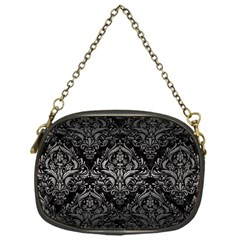 Damask1 Black Marble & Gray Metal 1 Chain Purses (one Side)  by trendistuff