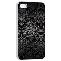 Damask1 Black Marble & Gray Metal 1 Apple Iphone 4/4s Seamless Case (white) by trendistuff