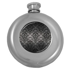 Damask1 Black Marble & Gray Metal 1 (r) Round Hip Flask (5 Oz) by trendistuff