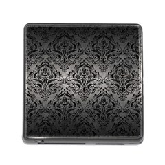 Damask1 Black Marble & Gray Metal 1 (r) Memory Card Reader (square) by trendistuff