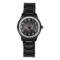 Damask1 Black Marble & Gray Metal 1 (r) Stainless Steel Round Watch by trendistuff