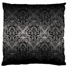 Damask1 Black Marble & Gray Metal 1 (r) Large Flano Cushion Case (one Side) by trendistuff