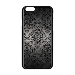 Damask1 Black Marble & Gray Metal 1 (r) Apple Iphone 6/6s Black Enamel Case by trendistuff