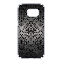 Damask1 Black Marble & Gray Metal 1 (r) Samsung Galaxy S7 Edge White Seamless Case by trendistuff