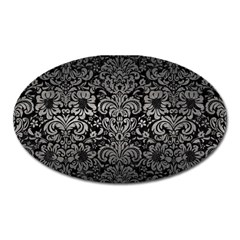Damask2 Black Marble & Gray Metal 1 Oval Magnet by trendistuff