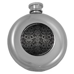 Damask2 Black Marble & Gray Metal 1 Round Hip Flask (5 Oz) by trendistuff