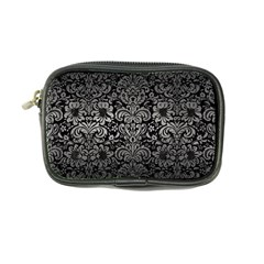 Damask2 Black Marble & Gray Metal 1 Coin Purse by trendistuff