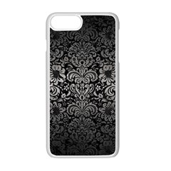 Damask2 Black Marble & Gray Metal 1 Apple Iphone 7 Plus White Seamless Case by trendistuff