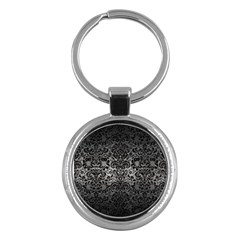 Damask2 Black Marble & Gray Metal 1 (r) Key Chains (round)  by trendistuff
