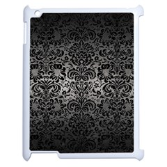 Damask2 Black Marble & Gray Metal 1 (r) Apple Ipad 2 Case (white) by trendistuff