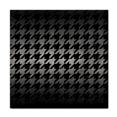 Houndstooth1 Black Marble & Gray Metal 1 Tile Coasters