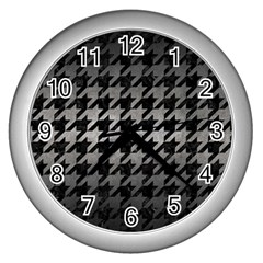Houndstooth1 Black Marble & Gray Metal 1 Wall Clocks (silver)  by trendistuff