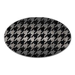 Houndstooth1 Black Marble & Gray Metal 1 Oval Magnet by trendistuff
