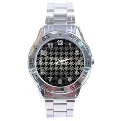 Houndstooth1 Black Marble & Gray Metal 1 Stainless Steel Analogue Watch by trendistuff