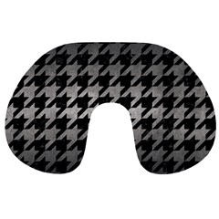 Houndstooth1 Black Marble & Gray Metal 1 Travel Neck Pillows by trendistuff