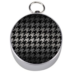 Houndstooth1 Black Marble & Gray Metal 1 Silver Compasses by trendistuff