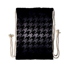 Houndstooth1 Black Marble & Gray Metal 1 Drawstring Bag (small) by trendistuff