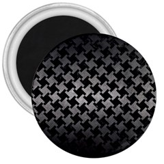 Houndstooth2 Black Marble & Gray Metal 1 3  Magnets by trendistuff