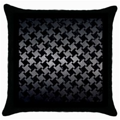 Houndstooth2 Black Marble & Gray Metal 1 Throw Pillow Case (black) by trendistuff