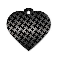 Houndstooth2 Black Marble & Gray Metal 1 Dog Tag Heart (one Side) by trendistuff