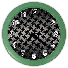 Houndstooth2 Black Marble & Gray Metal 1 Color Wall Clocks by trendistuff