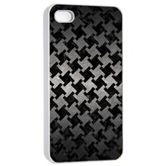 Houndstooth2 Black Marble & Gray Metal 1 Apple Iphone 4/4s Seamless Case (white) by trendistuff