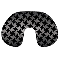 Houndstooth2 Black Marble & Gray Metal 1 Travel Neck Pillows by trendistuff