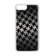 Houndstooth2 Black Marble & Gray Metal 1 Apple Iphone 7 Plus White Seamless Case by trendistuff