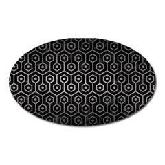 Hexagon1 Black Marble & Gray Metal 1 Oval Magnet by trendistuff