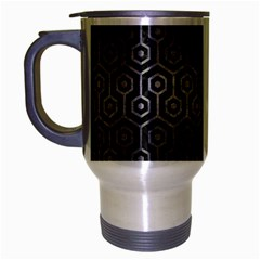 Hexagon1 Black Marble & Gray Metal 1 Travel Mug (silver Gray) by trendistuff