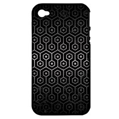 Hexagon1 Black Marble & Gray Metal 1 Apple Iphone 4/4s Hardshell Case (pc+silicone) by trendistuff