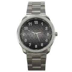 Hexagon1 Black Marble & Gray Metal 1 (r) Sport Metal Watch by trendistuff