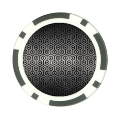 Hexagon1 Black Marble & Gray Metal 1 (r) Poker Chip Card Guard by trendistuff