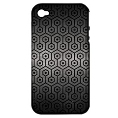 Hexagon1 Black Marble & Gray Metal 1 (r) Apple Iphone 4/4s Hardshell Case (pc+silicone) by trendistuff